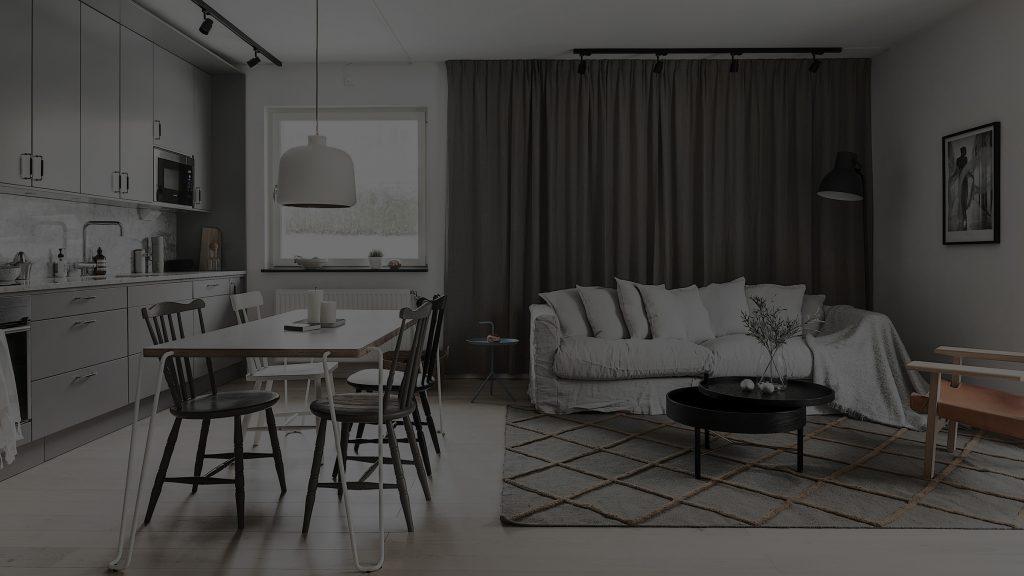 modern lägenhet med öppen planlösning